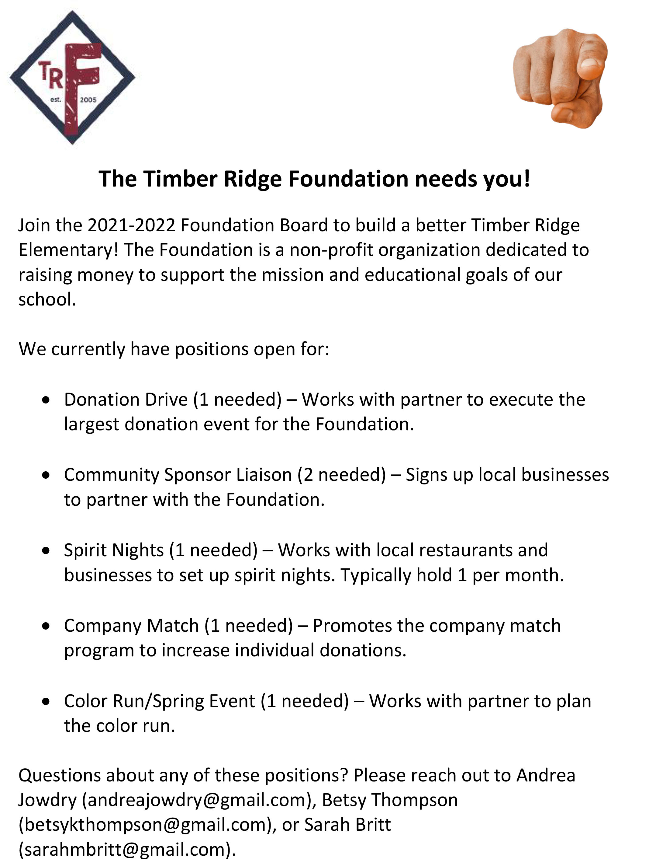 Foundation Open Positions